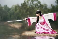 1920x1200, Красивая азиатка с мечем