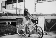 Картинки, Karen Abramyan, девушка, велосипед, ретро стиль, цар�…