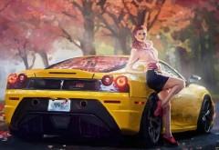Осенний пейзаж девушка и желтое Ferrari