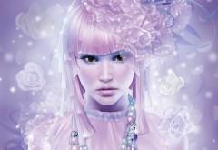 Розовая девушка обои скачать
