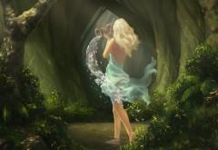 Рисованная девушка блондинка сказочные обои