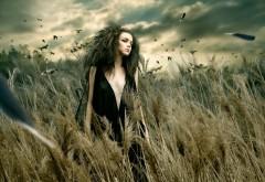 Девушка в черном платье широкоформатные обои hd скачат�…