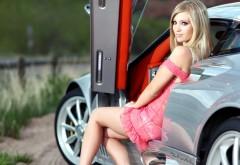 Красотка в розовом платье обои hd