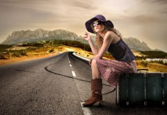 Girl on the road hd wallpapers high resolution background