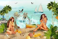 Обои рисованных девушек на пляже на рабочий стол