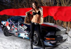 HD обои красивая девушка гонщица у машины