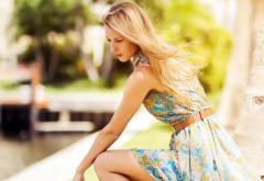 Красивая блондинка в платье картинки на рабочий стол