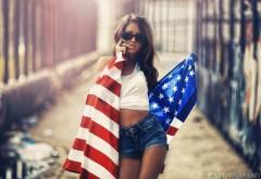 Девушка, брюнетка, американский флаг, модель, фото, Karen A…