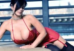 Обворожительная девушка в красном обтягивающем плать�…