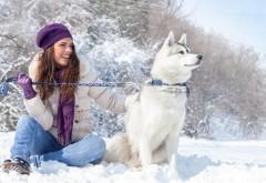 Собака, девушка, природа, зима, 1080, снег, мороз, улыбка, о…