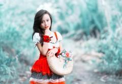 Красная шапочка, азиатка, обои, лес, горячая девушка, фо…