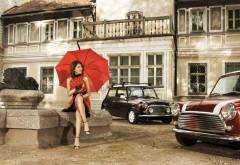 девушка, ретро, платье, зонтик, город, автомобили, архит…